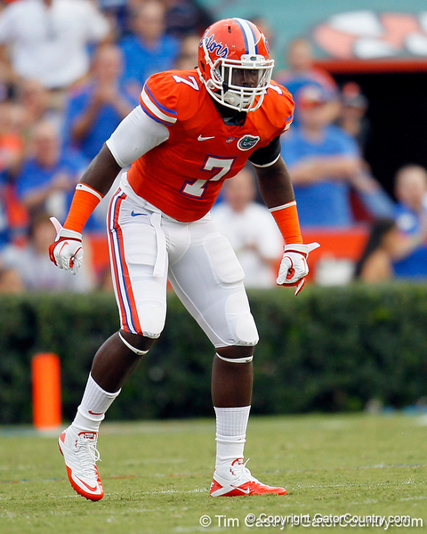 Florida sophomore linebacker/defensive end Ronald Powell awaits the opening kickoff before the Gators' 41-3 win against the FAU Owls on Saturday, September 3, 2011 at Ben Hill Griffin Stadium in Gainesville, Fla. / Gator Country photo by Tim Casey