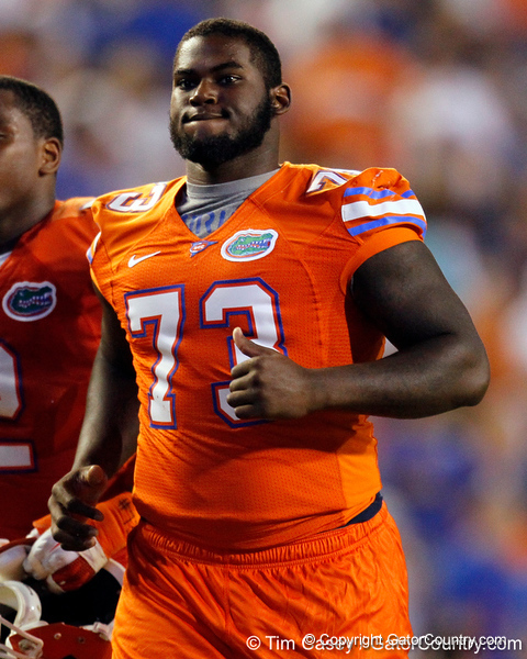 Florida sophomore defensive tackle Sharrif Floyd runs to the locker room during halftime of the Gators' 41-3 win against the FAU Owls on Saturday, September 3, 2011 at Ben Hill Griffin Stadium in Gainesville, Fla. / Gator Country photo by Tim Casey