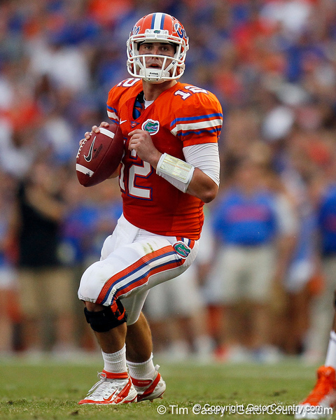 Florida redshirt senior quarterback John Brantley looks to pass during the first quarter of the Gators' 41-3 win against the FAU Owls on Saturday, September 3, 2011 at Ben Hill Griffin Stadium in Gainesville, Fla. / Gator Country photo by Tim Casey