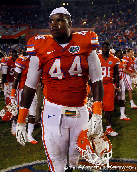Florida redshirt freshman defensive tackle Leon Orr walks across the field after the Gators' 41-3 win against the FAU Owls on Saturday, September 3, 2011 at Ben Hill Griffin Stadium in Gainesville, Fla. / Gator Country photo by Tim Casey