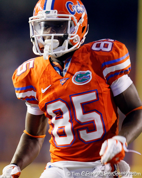Florida redshirt junior receiver Frankie Hammond Jr. runs on kickoff coverage during the third quarter of the Gators' 41-3 win against the FAU Owls on Saturday, September 3, 2011 at Ben Hill Griffin Stadium in Gainesville, Fla. / Gator Country photo by Tim Casey
