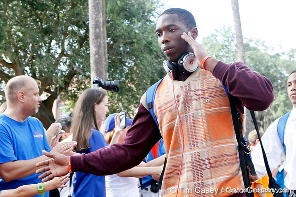 Florida sophomore cornerback Jaylen Watkins arrives before the Gators' 41-3 win against the FAU Owls on Saturday, September 3, 2011 at Ben Hill Griffin Stadium in Gainesville, Fla. / Gator Country photo by Tim Casey