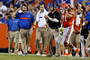Florida head coach Will Muschamp and defensive coordinator/defensive line coach Dan Quinn give instructions from the sideline during the fourth quarter of the Gators' 41-3 win against the FAU Owls on Saturday, September 3, 2011 at Ben Hill Griffin Stadium in Gainesville, Fla. / Gator Country photo by Tim Casey