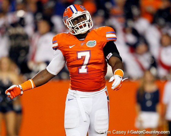 Florida sophomore linebacker/defensive end Ronald Powell dances during the second quarter of the Gators' 41-3 win against the FAU Owls on Saturday, September 3, 2011 at Ben Hill Griffin Stadium in Gainesville, Fla. / Gator Country photo by Tim Casey