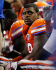 Florida redshirt junior defensive tackle Omar Hunter rests on the bench during the fourth quarter of the Gators' 41-3 win against the FAU Owls on Saturday, September 3, 2011 at Ben Hill Griffin Stadium in Gainesville, Fla. / Gator Country photo by Tim Casey