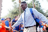 Florida freshman linebacker Chris Johnson greets fans before the Gators' 41-3 win against the FAU Owls on Saturday, September 3, 2011 at Ben Hill Griffin Stadium in Gainesville, Fla. / Gator Country photo by Tim Casey