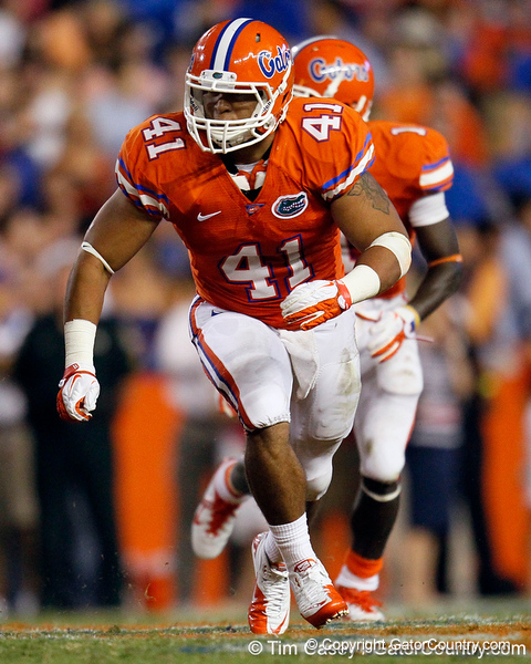 Florida freshman fullback Hunter Joyer blocks during the fourth quarter of the Gators' 41-3 win against the FAU Owls on Saturday, September 3, 2011 at Ben Hill Griffin Stadium in Gainesville, Fla. / Gator Country photo by Tim Casey
