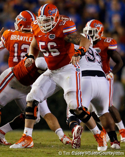 Florida redshirt senior center Dan Wenger blocks during the third quarter of the Gators' 41-3 win against the FAU Owls on Saturday, September 3, 2011 at Ben Hill Griffin Stadium in Gainesville, Fla. / Gator Country photo by Tim Casey