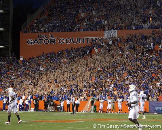 Florida fans do the wave during the second quarter of the Gators' 41-3 win against the FAU Owls on Saturday, September 3, 2011 at Ben Hill Griffin Stadium in Gainesville, Fla. / Gator Country photo by Tim Casey