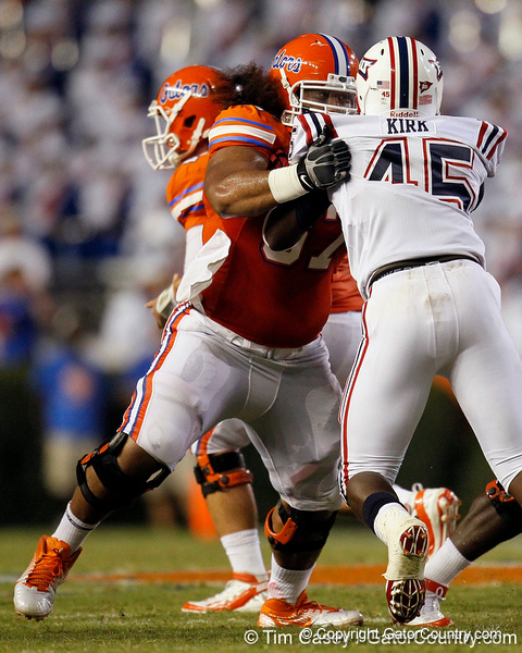 Florida redshirt sophomore guard Jon Halapio blocks during the second quarter of the Gators' 41-3 win against the FAU Owls on Saturday, September 3, 2011 at Ben Hill Griffin Stadium in Gainesville, Fla. / Gator Country photo by Tim Casey