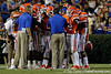 Florida head coach Will Muschamp talks during a timeout during the second quarter of the Gators' 41-3 win against the FAU Owls on Saturday, September 3, 2011 at Ben Hill Griffin Stadium in Gainesville, Fla. / Gator Country photo by Tim Casey