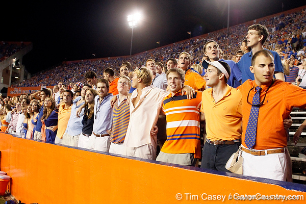 """Florida fans sing """"We Are the Boys"""" during the fourth quarter of the Gators' 41-3 win against the FAU Owls on Saturday, September 3, 2011 at Ben Hill Griffin Stadium in Gainesville, Fla. / Gator Country photo by Tim Casey"""