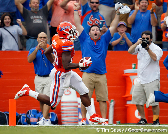 Florida senior running back Jeff Demps returns the opening kickoff 88 yards for a touchdown that would be called back during the first quarter of the Gators' 41-3 win against the FAU Owls on Saturday, September 3, 2011 at Ben Hill Griffin Stadium in Gainesville, Fla. / Gator Country photo by Tim Casey