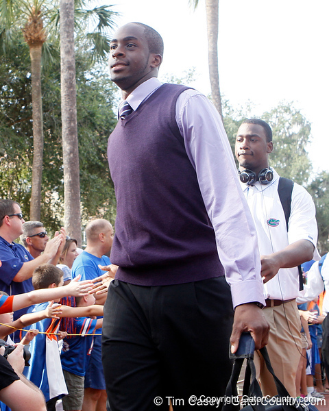 Florida redshirt sophomore receiver Stephen Alli arrives before the Gators' 41-3 win against the FAU Owls on Saturday, September 3, 2011 at Ben Hill Griffin Stadium in Gainesville, Fla. / Gator Country photo by Tim Casey