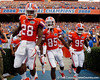Florida senior running back Jeff Demps and redshirt junior receiver Frankie Hammond Jr. run onto the field before the Gators' 41-3 win against the FAU Owls on Saturday, September 3, 2011 at Ben Hill Griffin Stadium in Gainesville, Fla. / Gator Country photo by Tim Casey