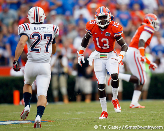 Florida junior linebacker Dee Finley blocks on the opening kickoff during the first quarter of the Gators' 41-3 win against the FAU Owls on Saturday, September 3, 2011 at Ben Hill Griffin Stadium in Gainesville, Fla. / Gator Country photo by Tim Casey