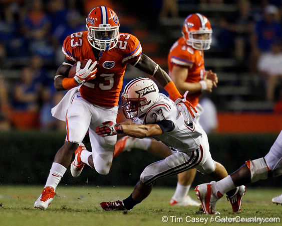 Florida junior running back Mike Gillislee runs nine yards to the 41-yard line during the fourth quarter of the Gators' 41-3 win against the FAU Owls on Saturday, September 3, 2011 at Ben Hill Griffin Stadium in Gainesville, Fla. / Gator Country photo by Tim Casey