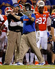 Florida head coach Will Muschamp questions a referee during the third quarter of the Gators' 41-3 win against the FAU Owls on Saturday, September 3, 2011 at Ben Hill Griffin Stadium in Gainesville, Fla. / Gator Country photo by Tim Casey