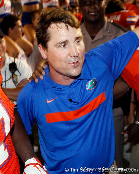 Florida head coach Will Muschamp sings the UF fight song after the Gators' 41-3 win against the FAU Owls on Saturday, September 3, 2011 at Ben Hill Griffin Stadium in Gainesville, Fla. / Gator Country photo by Tim Casey