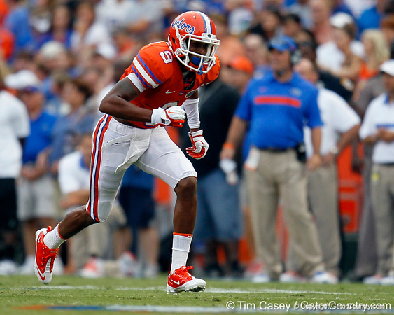 Florida redshirt freshman receiver Quinton Dunbar runs a pass route during the first quarter of the Gators' 41-3 win against the FAU Owls on Saturday, September 3, 2011 at Ben Hill Griffin Stadium in Gainesville, Fla. / Gator Country photo by Tim Casey