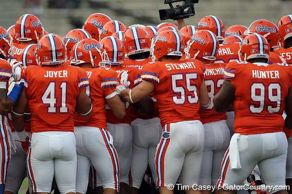 Florida players huddle before the Gators' 41-3 win against the FAU Owls on Saturday, September 3, 2011 at Ben Hill Griffin Stadium in Gainesville, Fla. / Gator Country photo by Tim Casey