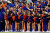 Florida cheerleaders pose for a television camera during the fourth quarter of the Gators' 41-3 win against the FAU Owls on Saturday, September 3, 2011 at Ben Hill Griffin Stadium in Gainesville, Fla. / Gator Country photo by Tim Casey