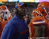 Florida defensive line coach Bryant Young watches a replay during the second quarter of the Gators' 41-3 win against the FAU Owls on Saturday, September 3, 2011 at Ben Hill Griffin Stadium in Gainesville, Fla. / Gator Country photo by Tim Casey