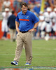 Florida head coach Will Muschamp oversees warmups before the Gators' 41-3 win against the FAU Owls on Saturday, September 3, 2011 at Ben Hill Griffin Stadium in Gainesville, Fla. / Gator Country photo by Tim Casey