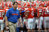 Florida head coach Will Muschamp looks at the video board before the Gators' 41-3 win against the FAU Owls on Saturday, September 3, 2011 at Ben Hill Griffin Stadium in Gainesville, Fla. / Gator Country photo by Tim Casey