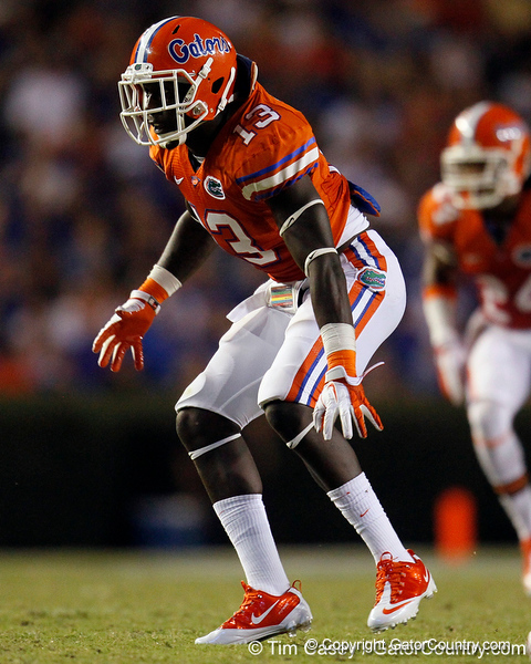 Florida junior linebacker Dee Finley drops into pass coverage during the third quarter of the Gators' 41-3 win against the FAU Owls on Saturday, September 3, 2011 at Ben Hill Griffin Stadium in Gainesville, Fla. / Gator Country photo by Tim Casey