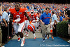 Florida sophomore defensive tackle Dominique Easley and head coach Will Muschamp run onto the field before the Gators' 41-3 win against FAU on Saturday, September 3, 2011 at Ben Hill Griffin Stadium in Gainesville, Fla. / Gator Country photo by Tim Casey
