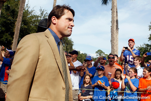 Florida head coach Will Muschamp arrives before the Gators' 41-3 win against the FAU Owls on Saturday, September 3, 2011 at Ben Hill Griffin Stadium in Gainesville, Fla. / Gator Country photo by Tim Casey
