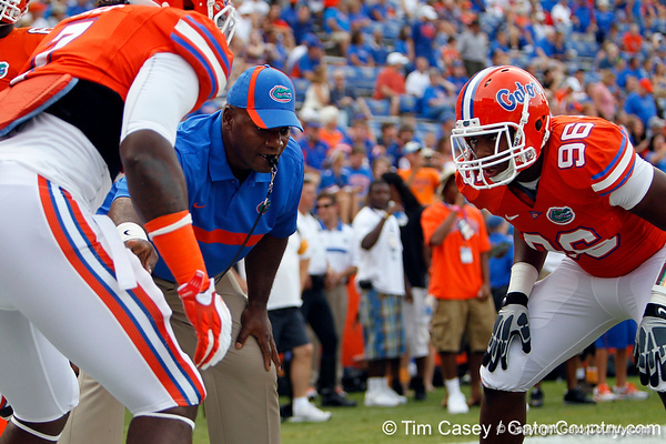 Florida defensive line coach Bryant Young conducts drills before the Gators' 41-3 win against the FAU Owls on Saturday, September 3, 2011 at Ben Hill Griffin Stadium in Gainesville, Fla. / Gator Country photo by Tim Casey