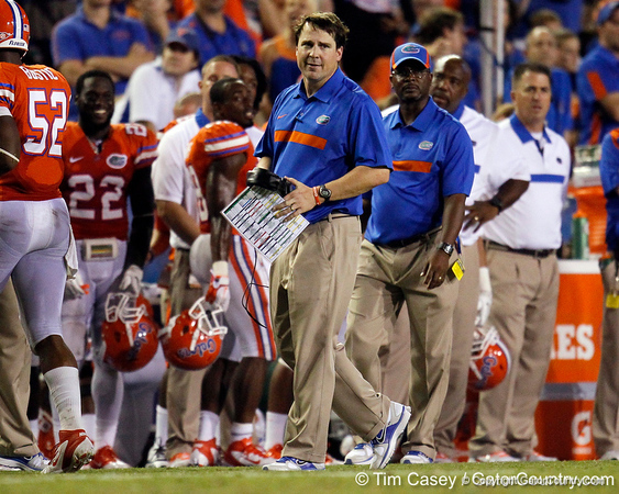 Florida head coach Will Muschamp protests a pass interference penalty during the third quarter of the Gators' 41-3 win against the FAU Owls on Saturday, September 3, 2011 at Ben Hill Griffin Stadium in Gainesville, Fla. / Gator Country photo by Tim Casey