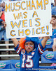 A Florida fan cheers before the Gators' 41-3 win against the FAU Owls on Saturday, September 3, 2011 at Ben Hill Griffin Stadium in Gainesville, Fla. / Gator Country photo by Tim Casey
