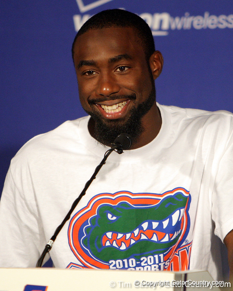 Florida redshirt senior running back Chris Rainey speaks to reporters after the Gators' 41-3 win against the FAU Owls on Saturday, September 3, 2011 at Ben Hill Griffin Stadium in Gainesville, Fla. / Gator Country photo by Tim Casey