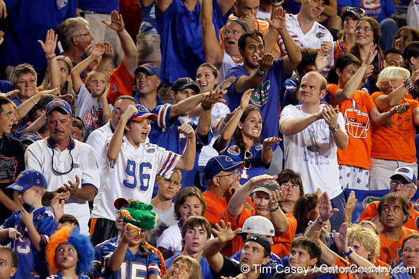 Florida fans cheer during the second quarter of the Gators' 41-3 win against the FAU Owls on Saturday, September 3, 2011 at Ben Hill Griffin Stadium in Gainesville, Fla. / Gator Country photo by Tim Casey