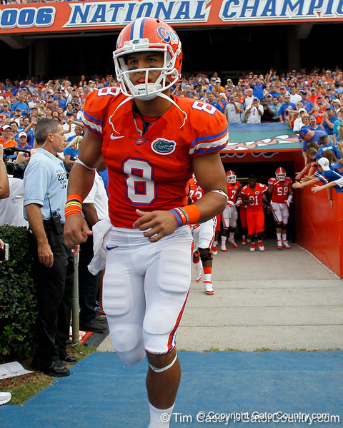 Florida sophomore running back Trey Burton runs onto the field before the Gators' 41-3 win against the FAU Owls on Saturday, September 3, 2011 at Ben Hill Griffin Stadium in Gainesville, Fla. / Gator Country photo by Tim Casey