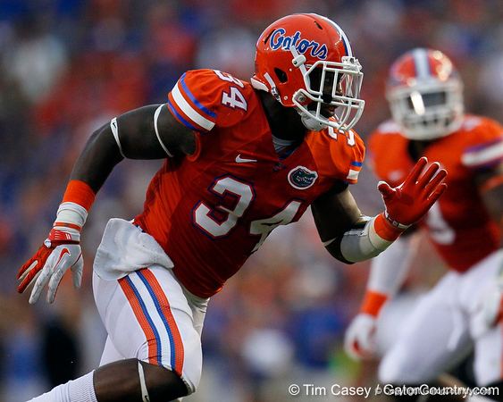 Florida redshirt junior defensive end Lerentee McCray rushes the quarterback during the first quarter of the Gators' 41-3 win against the FAU Owls on Saturday, September 3, 2011 at Ben Hill Griffin Stadium in Gainesville, Fla. / Gator Country photo by Tim Casey