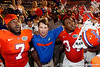 Florida sophomore linebacker/defensive end Ronald Powell, head coach Will Muschamp and redshirt junior defensive end Lerentee McCray sing the UF fight song after the Gators' 41-3 win against the FAU Owls on Saturday, September 3, 2011 at Ben Hill Griffin Stadium in Gainesville, Fla. / Gator Country photo by Tim Casey