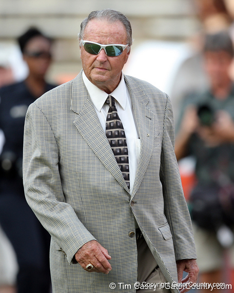 Bobby Bowden walks on the field before the Gators' 41-3 win against the FAU Owls on Saturday, September 3, 2011 at Ben Hill Griffin Stadium in Gainesville, Fla. / Gator Country photo by Tim Casey