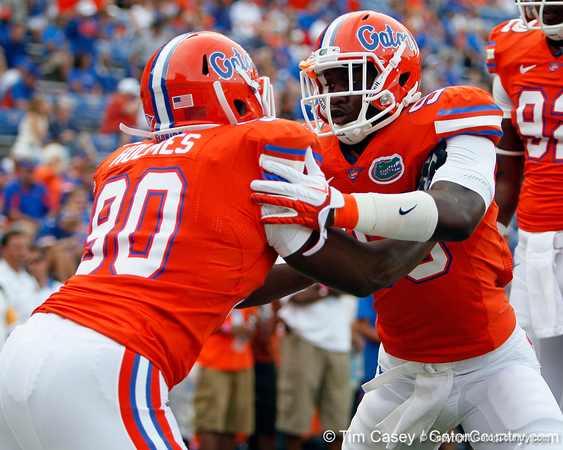 Florida redshirt sophomore defensive tackle Kedric Johnson warms up before the Gators' 41-3 win against the FAU Owls on Saturday, September 3, 2011 at Ben Hill Griffin Stadium in Gainesville, Fla. / Gator Country photo by Tim Casey