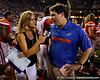 Florida head coach Will Muschamp does a television interview after the Gators' 41-3 win against the FAU Owls on Saturday, September 3, 2011 at Ben Hill Griffin Stadium in Gainesville, Fla. / Gator Country photo by Tim Casey