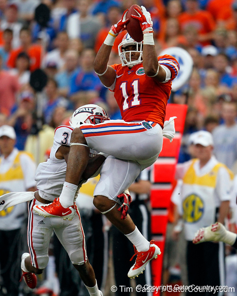Florida redshirt sophomore tight end Jordan Reed makes a 15-yard reception at the 23-yard line during the first quarter of the Gators' 41-3 win against the FAU Owls on Saturday, September 3, 2011 at Ben Hill Griffin Stadium in Gainesville, Fla. / Gator Country photo by Tim Casey