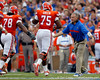 Florida linebackers coach/special teams coordinator D.J. Durkin celebrates after a field goal during the first quarter of the Gators' 41-3 win against the FAU Owls on Saturday, September 3, 2011 at Ben Hill Griffin Stadium in Gainesville, Fla. / Gator Country photo by Tim Casey