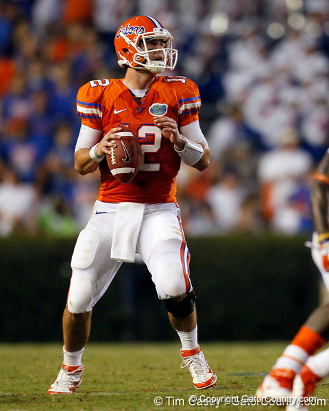 Florida redshirt senior quarterback John Brantley looks to pass during the second quarter of the Gators' 41-3 win against the FAU Owls on Saturday, September 3, 2011 at Ben Hill Griffin Stadium in Gainesville, Fla. / Gator Country photo by Tim Casey