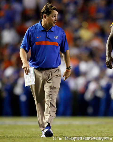 Florida head coach Will Muschamp shouts at a referee during halftime of the Gators' 41-3 win against the FAU Owls on Saturday, September 3, 2011 at Ben Hill Griffin Stadium in Gainesville, Fla. / Gator Country photo by Tim Casey
