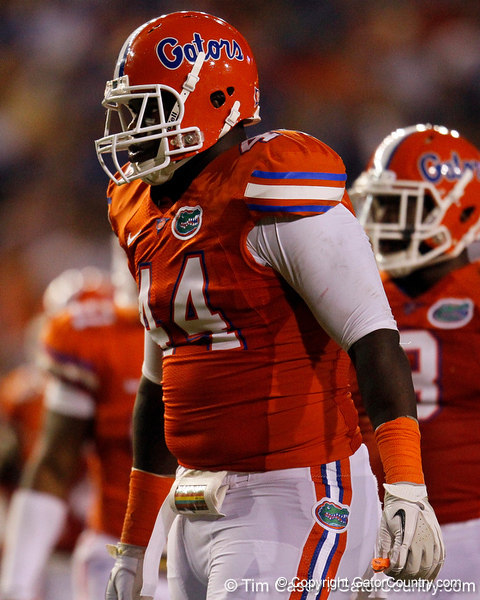 Florida redshirt freshman defensive tackle Leon Orr lines up during the third quarter of the Gators' 41-3 win against the FAU Owls on Saturday, September 3, 2011 at Ben Hill Griffin Stadium in Gainesville, Fla. / Gator Country photo by Tim Casey