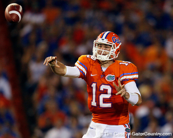 Florida redshirt senior quarterback John Brantley passes during the third quarter of the Gators' 41-3 win against the FAU Owls on Saturday, September 3, 2011 at Ben Hill Griffin Stadium in Gainesville, Fla. / Gator Country photo by Tim Casey