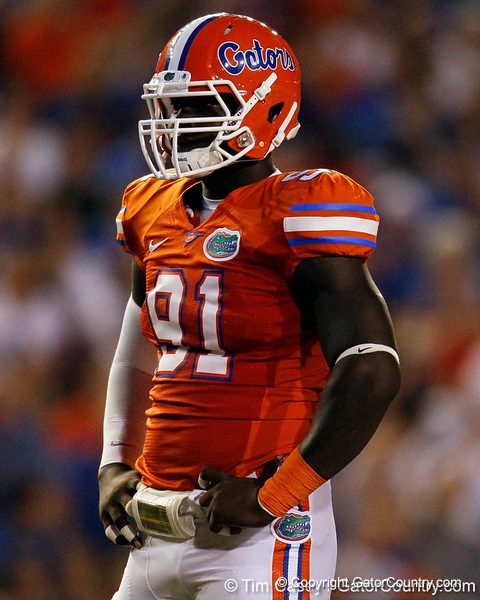 Florida redshirt junior defensive end Earl Okine lines up during the third quarter of the Gators' 41-3 win against the FAU Owls on Saturday, September 3, 2011 at Ben Hill Griffin Stadium in Gainesville, Fla. / Gator Country photo by Tim Casey